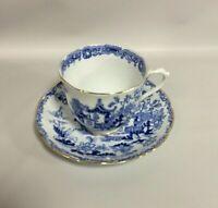 Royal Albert Bone China Tea Cup Saucer Blue Willow Black Backstamp Center Mark