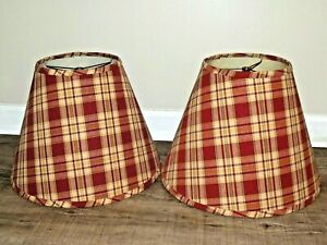 """Pair of Red PLAID FABRIC Cone Lamp Shades 12""""H x 16""""W Perfect"""