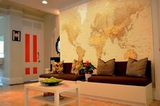 """Large wall mural wallpaper 366x254cm (12' x 8'4"""")  Brown Map of the World"""