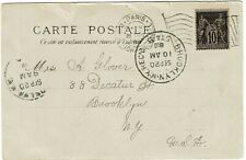 France 1900 Paris Exposition flag cancel on expo postcard to the U.S.