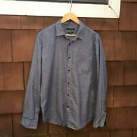 Banana Republic Luxe Flannel Camden Fit Gray Plaid Shirt Size L