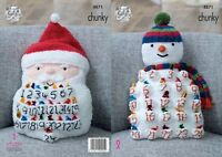 KINGCOLE 4871-KNITTING PATTERN  Snowman & Santa Advent Cushions-Make your own.