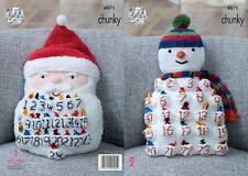 KINGCOLE 4871-KNITTING PATTERN  Snowman & Santa Advent Cushions-Make your own.