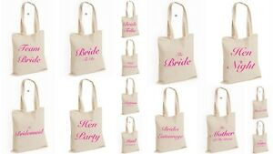 Wedding Favour Tote Bag cotton Printed Gift Present Keep Hen Party Novelty (BAG)