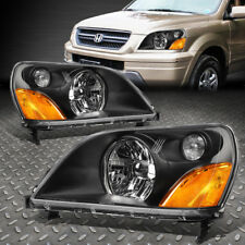 FOR 2003-2005 HONDA PILOT PAIR BLACK HOUSING AMBER CORNER BUMPER HEADLIGHT/LAMP