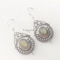 Labradorite Gemstone Solid 925 Sterling Silver Filigree Earrings Jewelry #2511