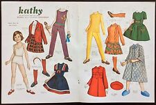 Vintage Pat Stall Kathy & her Clothes from 1966 Sears Cat. Paper Doll Uncut,1986