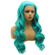 Teal Blue Long Wavy Heat Resistant Turquoise Synthetic Front Lace Wig