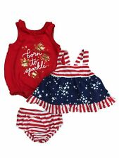 Infant Girls 3 Piece Patriotic Born To Sparkle Romper & Dress With Panty 12m