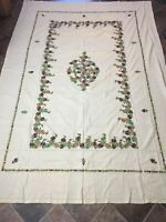 "Vtg Embroidered Tablecloth Floral Tan Cutwork Cotton Rectangular 92x65"" Numbered"