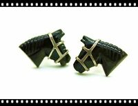 Vintage Antique Sterling Silver Carved Horse Cufflinks Cuff Links Artisan