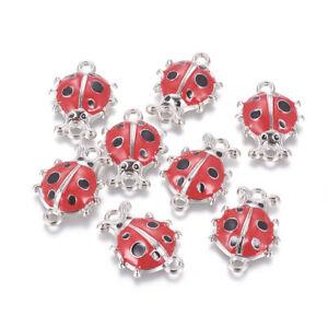 20pcs Alloy Enamel Ladybug Links Connectors Crimson Cute Charms Crafting 26x19mm