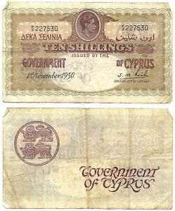 10 Shillings Cyprus 1950 🇨🇾 Banknote // King George VI  🇬🇧SN:F/8 227530 # 23