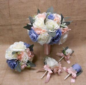 Wedding Silk Flower Bridal Bouquets Ivory Cream Pink Blush Dusty Blue Eucalyptus