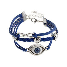 Leather Braided Charm Protection Lucky Bracelets Silver Evil Eye Fox Bracelet