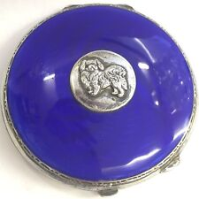 Vintage Art Deco Solid Silver Blue Enamel Poodle Compact Turner & Simpson 1936