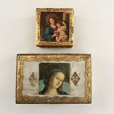 Vintage Florentine Boxes, Wood With Gesso, Two/2 Boxes, Madonna & Child, Italy
