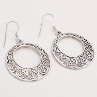925 Sterling Silver Bohemian Earrings Women Vintage Pagan Fine Jewelry Gift New