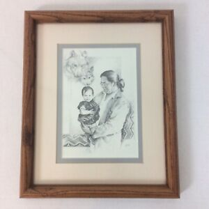 Michele Gauthier Fathers Wolf and Indian Signed Framed Homage Fathers