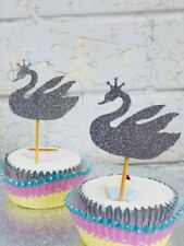 Swan Cupcake Picks - Birthday Party, Cake Decoration, Cupcake Toppers, Tableware