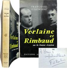 Verlaine et Rimbaud la fausse évasion 1960 envoi Françoise d'Eaubonne S.P.