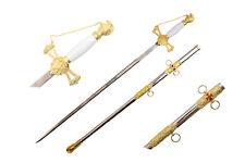 New Knights Templar Mason Masonic Sword & Sheath Rose Croix Scottish GOLD COLOR