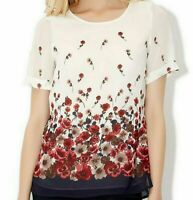 EX MONSOON Scoop Neck Short sleeve BLUSH CREAM RED FLORAL TUNIC BLOUSE TOP 10