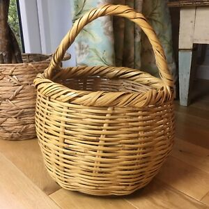 Lovely Round Vintage Bamboo Wicker Picnic Shopping Basket-  44cm High