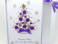 Handmade CHRISTMAS CARD Personalised Xmas Tree PURPLE Baubles 3D Gift Box Folded