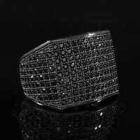 18k Black Gold 19mm Bling Out ICED 360 Simulated Diamond Band MICROPAVE Men Ring