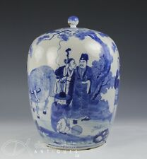 Large Antique Chinese Blue And White Porcelain Covered Jar