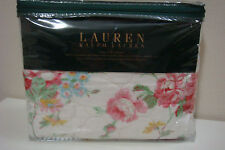 BRAND NEW IN PACKAGE RALPH LAUREN 2 KING SHAMS BEIGE COLOR WITH COLOR FLOWERS