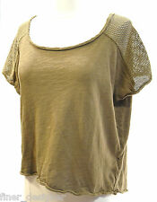 I Love H81 NEW Forever 21 Brown distressed mesh top exposed zip Tee Shirt Knit L
