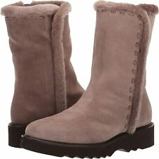 NEW AQUATALIA sz 8 Kalena SHEARLING FUR LINED Taupe Suede Ankle Boots