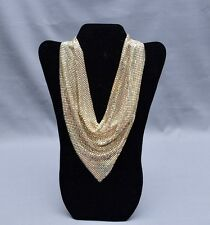 VINTAGE WHITING DAVIS GOLDTONE MESH BIB NECKLACE CHAIN MAIL SCARF DICKEY ca.1960