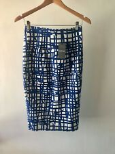 CR Love Sz XXS (6) Country Road Print Pencil Skirt Cerulean Blue