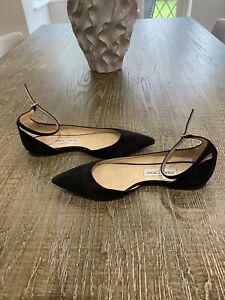 Jimmy Choo Black Suede Flat Shoes/38