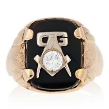 Blue Lodge Master Mason Vintage Ring - 10k Yellow Gold Onyx & Diamond .37ct
