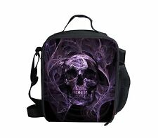 Purple Skull Teen Boys Kids Insulated Lunch Box Bag Thermal Cooler Picnic School