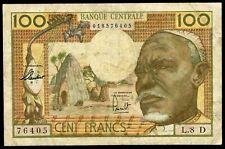"🔸EQUATORIAL AFRICAN STATES ""D"" GABON 100 FRANCS 1963 P-3d F RARE (M-006)🔸"