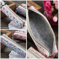 Stylish Flower Floral Lace Pencil Pen Case Stationery Bags Small Pouch Holder