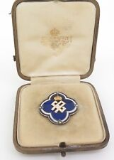 English Royal Enamel & Diamond Confirmation Pin From The Queen c1912 to Georgina