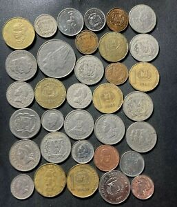 Old DOMINICAN REPUBLIC Coin Lot - 1967-PRESENT - 34 Excellent Coins - Lot #J15