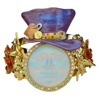 Kirks Folly Red Roses Glass Seaview Moon Mad Hatter Cuff Bracelet (Goldtone)