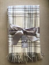 Finest Peruvian 100% Baby Alpaca Ivory Grey Check All Natural Blanket Throw NEW