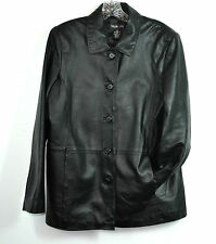 New STYLE & CO. Black 100% Genuine Leather Jacket SIZE M MADE IN INDIA