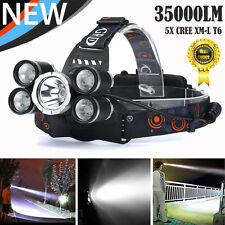 35000Lm 5X XM-L T6 LED Rechargeable Headlamp Head Light Waterproof Head Torches