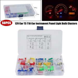 50PCS Car Auto T5 T10 Car Instrument Panel Light Bulb Clusters Dashboard Lamps