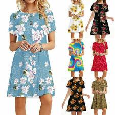 Womens Summer Short Sleeve T Shirt Dress Floral Beach Sundress A Line Mini Dress