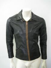 Vintage OSHWAHKON Black Leather Motorcycle Jacket Size 38
